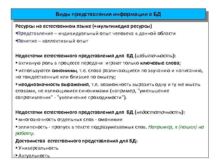 Виды представления информации в БД Ресурсы на естественном языке (+мультимедиа ресурсы) • Представление –