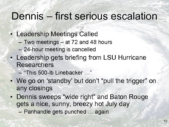 Dennis – first serious escalation • Leadership Meetings Called – Two meetings – at