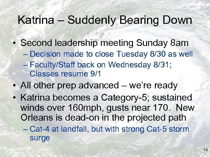 Katrina – Suddenly Bearing Down • Second leadership meeting Sunday 8 am – Decision
