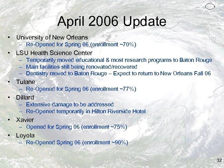 April 2006 Update • University of New Orleans – Re-Opened for Spring 06 (enrollment
