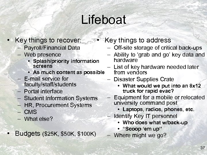 Lifeboat • Key things to recover: • Key things to address – Payroll/Financial Data