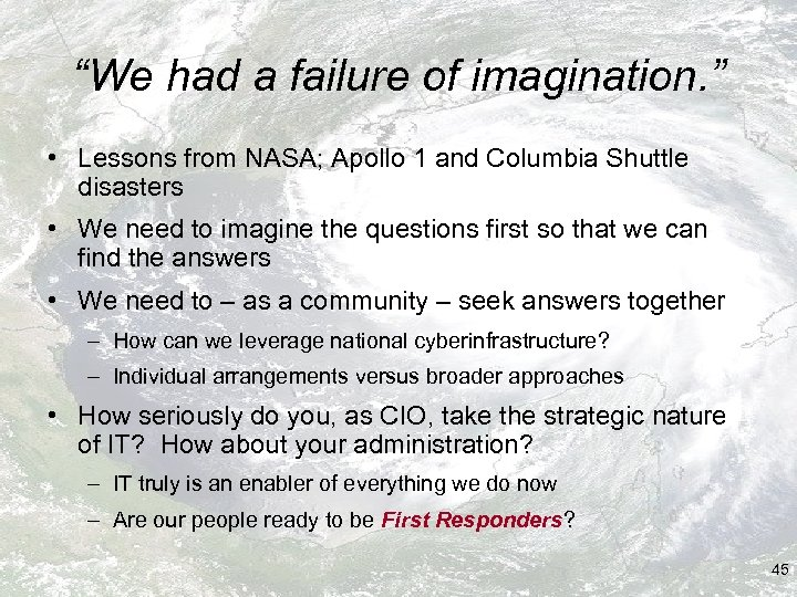 """""""We had a failure of imagination. """" • Lessons from NASA; Apollo 1 and"""
