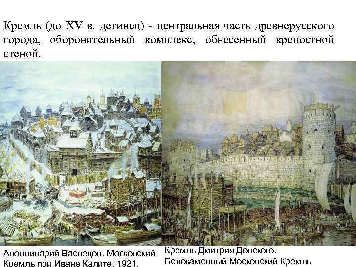 Кремль (до XV в. детинец) - центральная часть древнерусского города, оборонительный комплекс, обнесенный крепостной