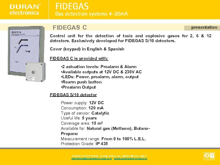FIDEGAS C presentation Control unit for the detection of toxic and explosive gases for