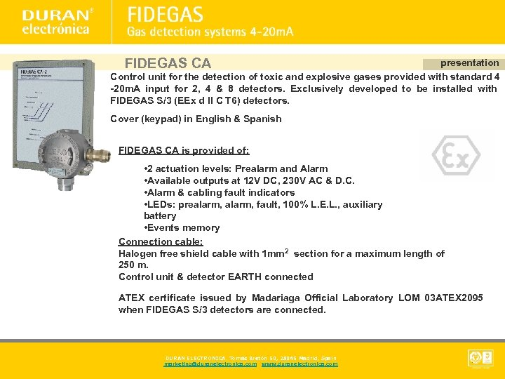 FIDEGAS CA presentation Control unit for the detection of toxic and explosive gases provided