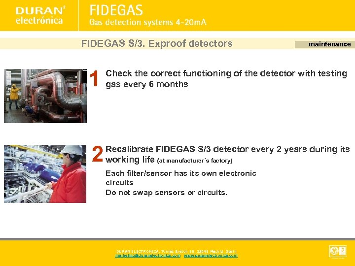 FIDEGAS S/3. Exproof detectors 1 1 2 maintenance Check the correct functioning of the