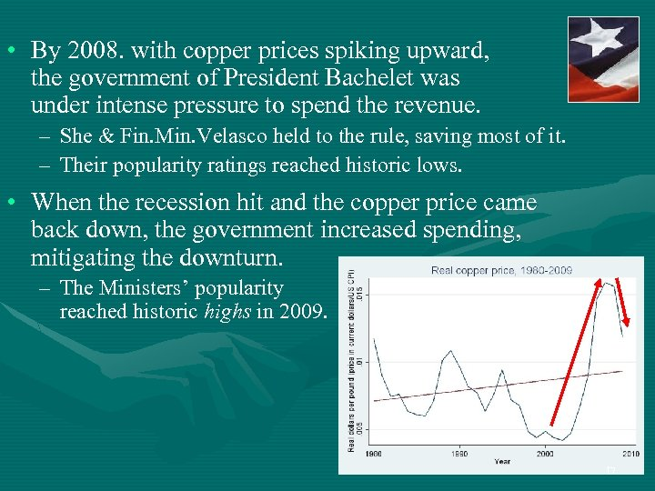• By 2008. with copper prices spiking upward, the government of President Bachelet