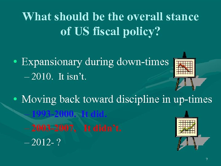 What should be the overall stance of US fiscal policy? • Expansionary during down-times