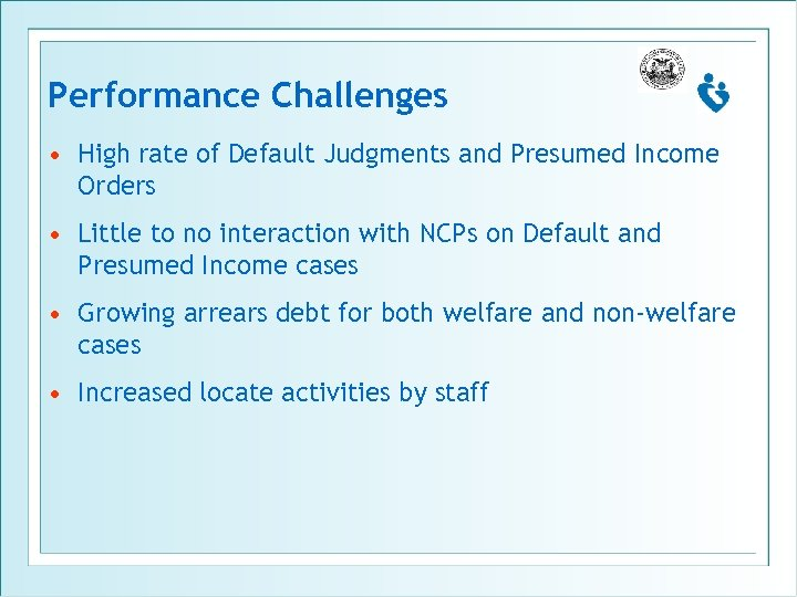 Performance Challenges • High rate of Default Judgments and Presumed Income Orders • Little