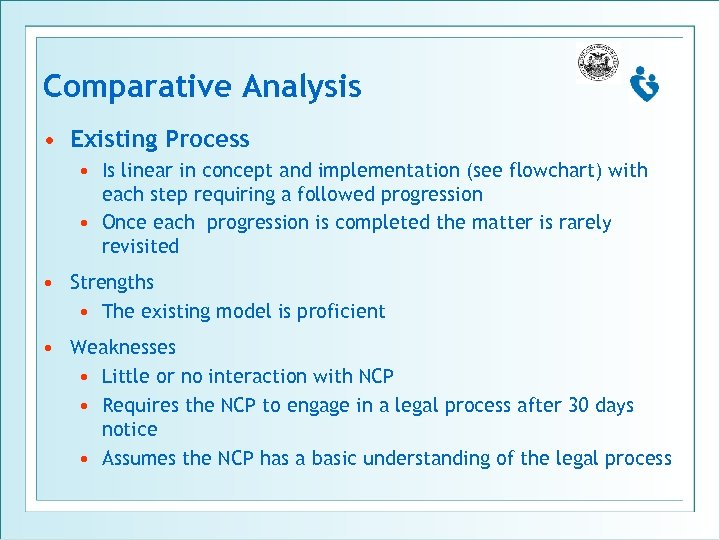 Comparative Analysis • Existing Process • Is linear in concept and implementation (see flowchart)