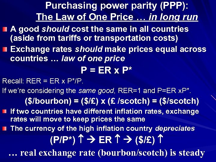 Purchasing power parity (PPP): The Law of One Price … in long run A