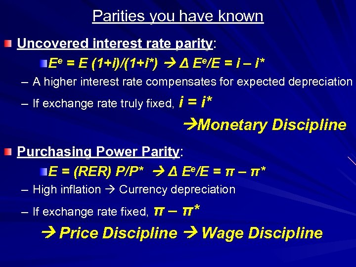 Parities you have known Uncovered interest rate parity: Ee = E (1+i)/(1+i*) Δ Ee/E