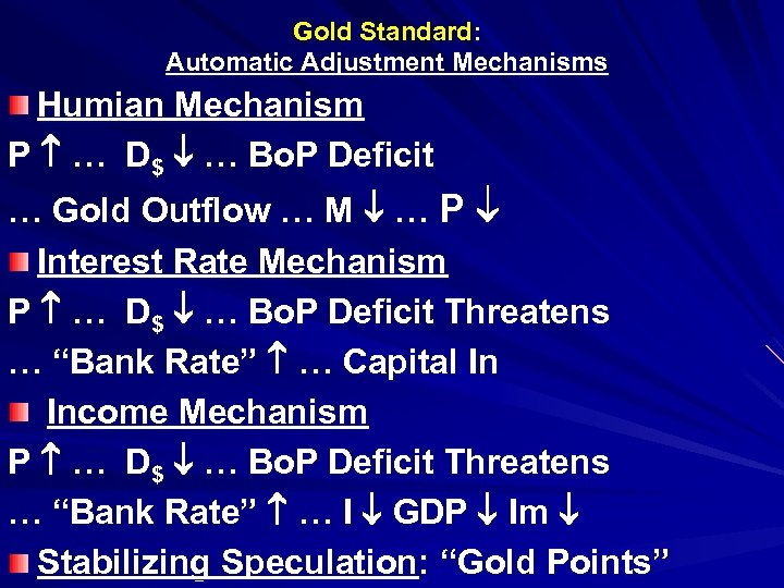 Gold Standard: Automatic Adjustment Mechanisms Humian Mechanism P … D$ … Bo. P Deficit