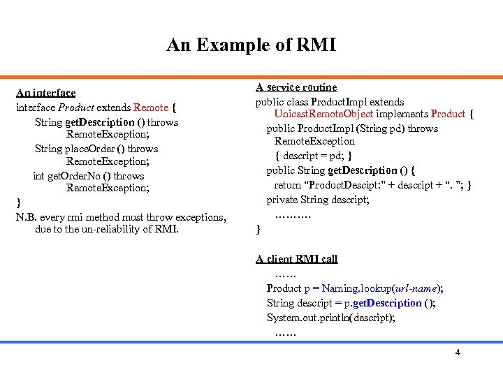An Example of RMI An interface Product extends Remote { String get. Description ()