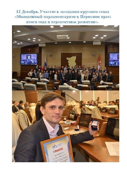 12 Декабря. Участие в заседании круглого стола «Молодежный парламентаризм в Пермском крае: итоги года