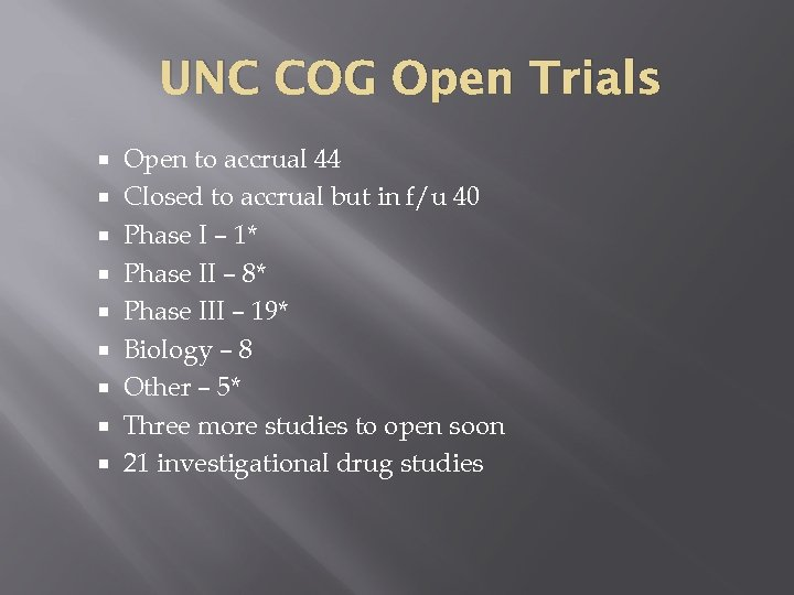 UNC COG Open Trials Open to accrual 44 Closed to accrual but in f/u