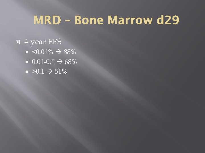 MRD – Bone Marrow d 29 4 year EFS <0. 01% 88% 0. 01