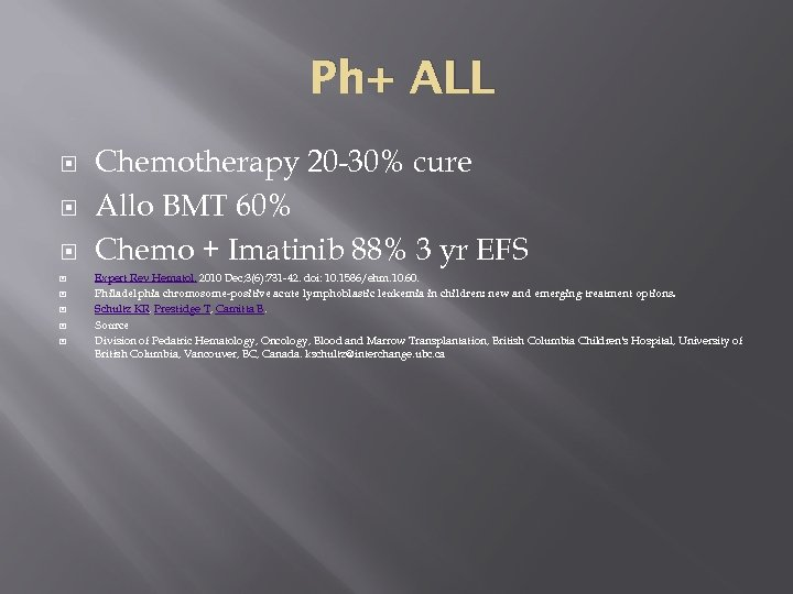 Ph+ ALL Chemotherapy 20 -30% cure Allo BMT 60% Chemo + Imatinib 88% 3
