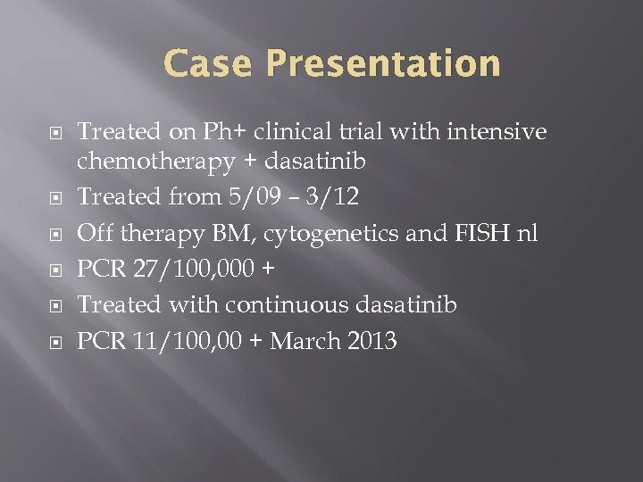 Case Presentation Treated on Ph+ clinical trial with intensive chemotherapy + dasatinib Treated from