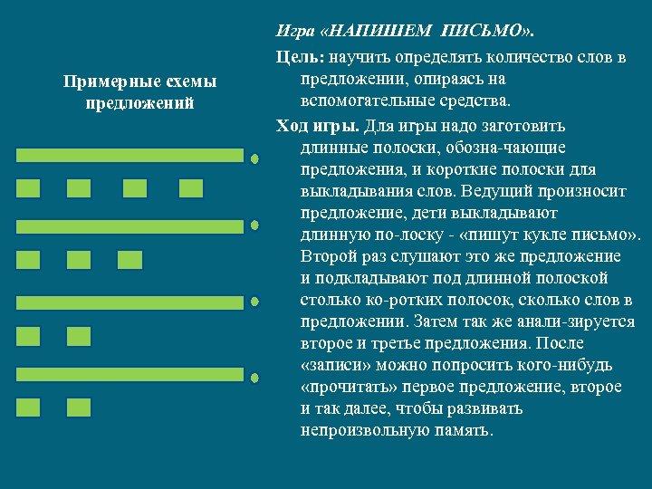 Примерные схемы предложений Игра «НАПИШЕМ ПИСЬМО» . Цель: научить определять количество слов в предложении,