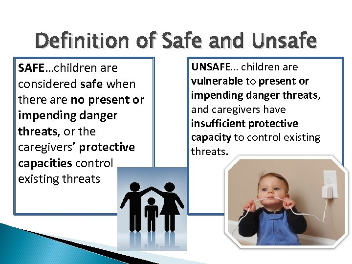 Definition of Safe and Unsafe SAFE…children are considered safe when there are no present