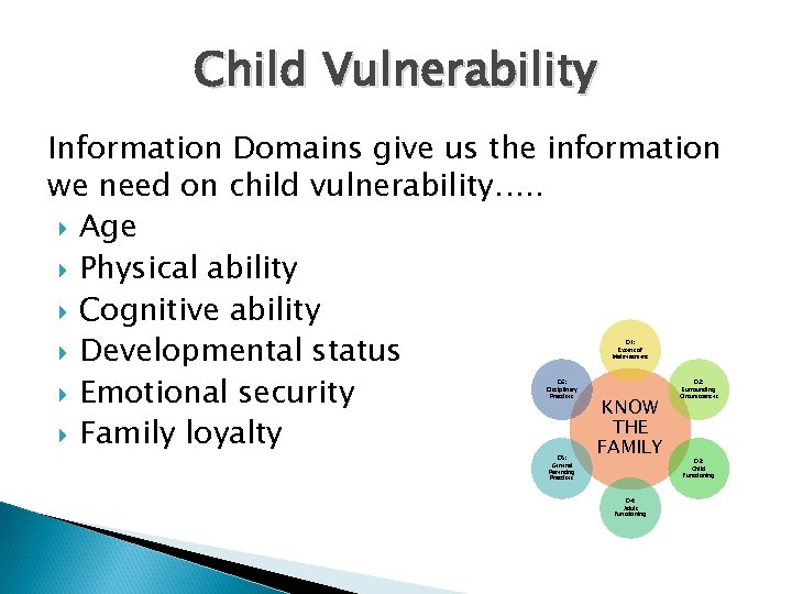 Child Vulnerability Information Domains give us the information we need on child vulnerability…. .