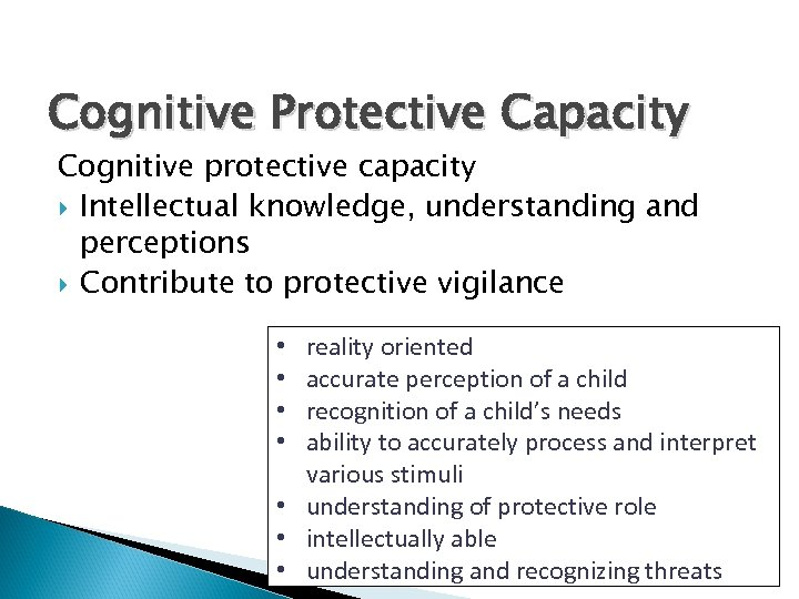 Cognitive Protective Capacity Cognitive protective capacity Intellectual knowledge, understanding and perceptions Contribute to protective