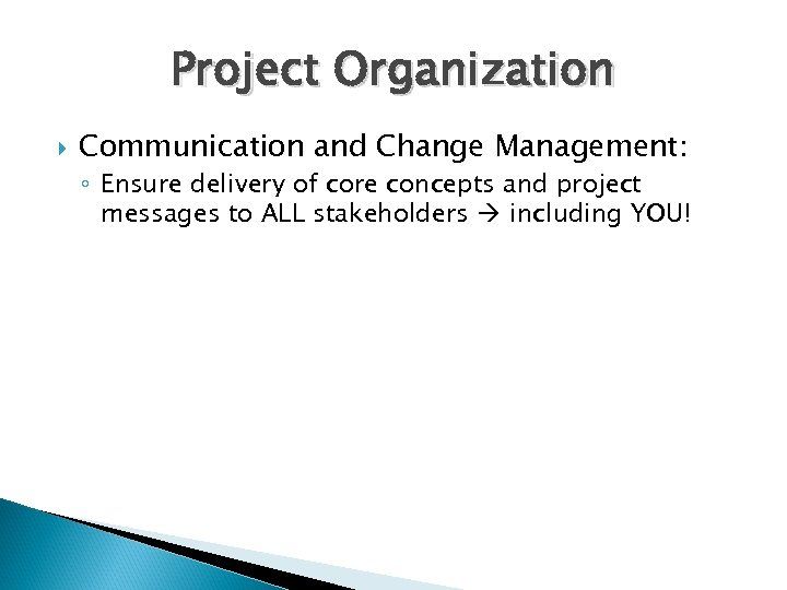 Project Organization Communication and Change Management: ◦ Ensure delivery of core concepts and project