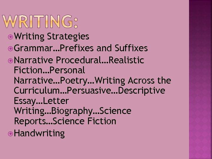 Writing Strategies Grammar…Prefixes and Suffixes Narrative Procedural…Realistic Fiction…Personal Narrative…Poetry…Writing Across the Curriculum…Persuasive…Descriptive Essay…Letter