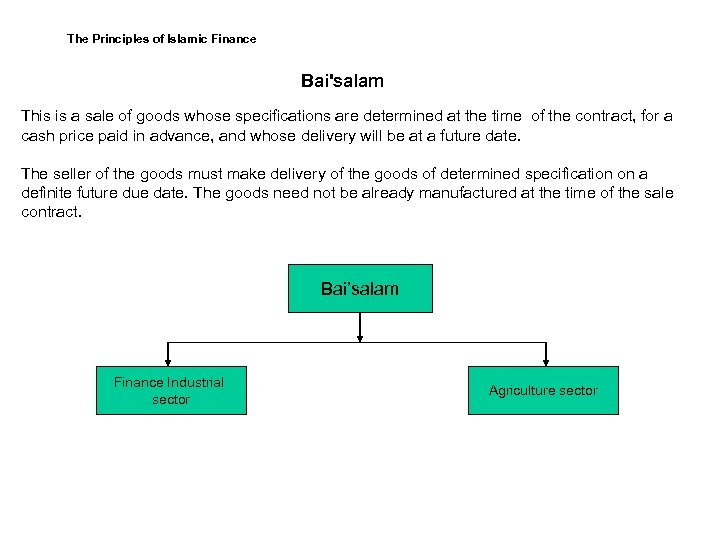 The Principles of Islamic Finance Bai'salam This is a sale of goods whose specifications