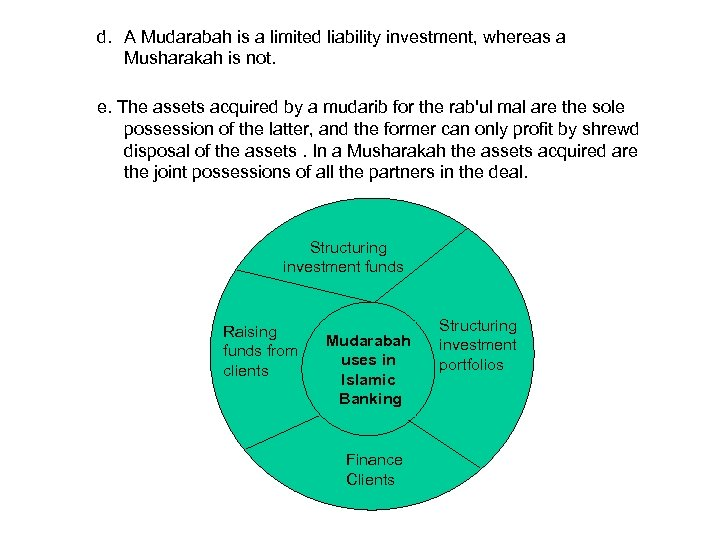d. A Mudarabah is a limited liability investment, whereas a Musharakah is not. e.