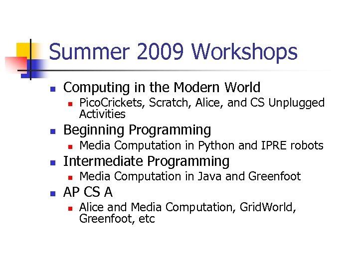 Summer 2009 Workshops n Computing in the Modern World n n Beginning Programming n