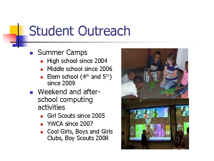 Student Outreach n Summer Camps n n High school since 2004 Middle school since