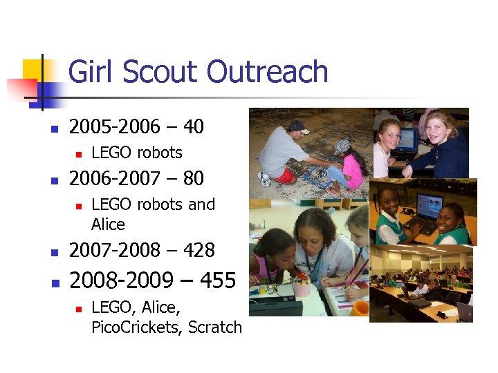 Girl Scout Outreach n 2005 -2006 – 40 n n LEGO robots 2006 -2007