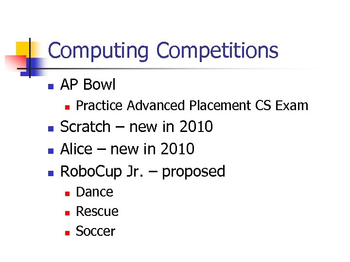 Computing Competitions n AP Bowl n n Practice Advanced Placement CS Exam Scratch –