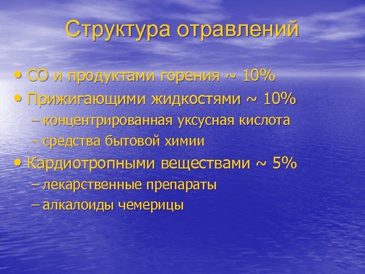 Структура отравлений • CO и продуктами горения ~ 10% • Прижигающими жидкостями ~ 10%