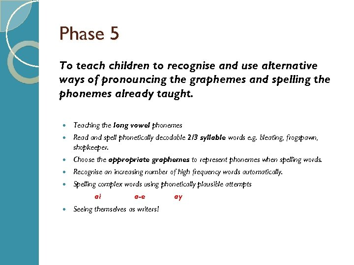 Phase 5 To teach children to recognise and use alternative ways of pronouncing the