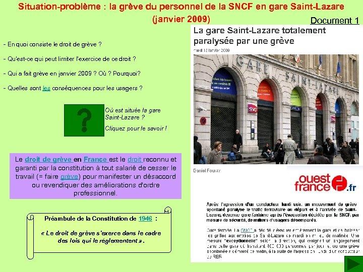 Situation-problème : la grève du personnel de la SNCF en gare Saint-Lazare (janvier 2009)