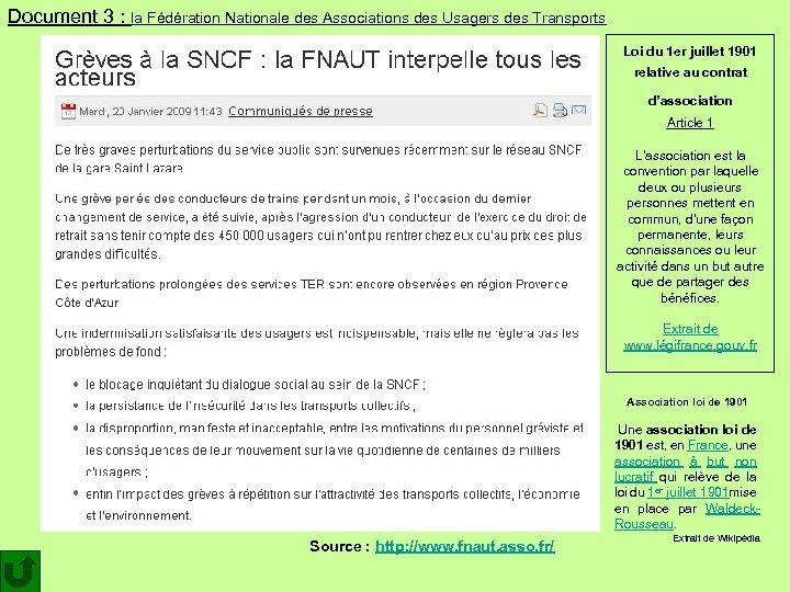 Document 3 : la Fédération Nationale des Associations des Usagers des Transports Loi du