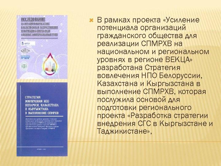 В рамках проекта «Усиление потенциала организаций гражданского общества для реализации СПМРХВ на национальном