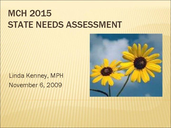 MCH 2015 STATE NEEDS ASSESSMENT Linda Kenney, MPH November 6, 2009