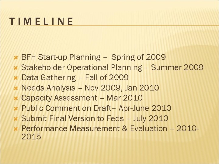 TIMELINE BFH Start-up Planning – Spring of 2009 Stakeholder Operational Planning – Summer 2009