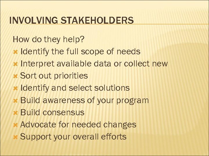 INVOLVING STAKEHOLDERS How do they help? Identify the full scope of needs Interpret available