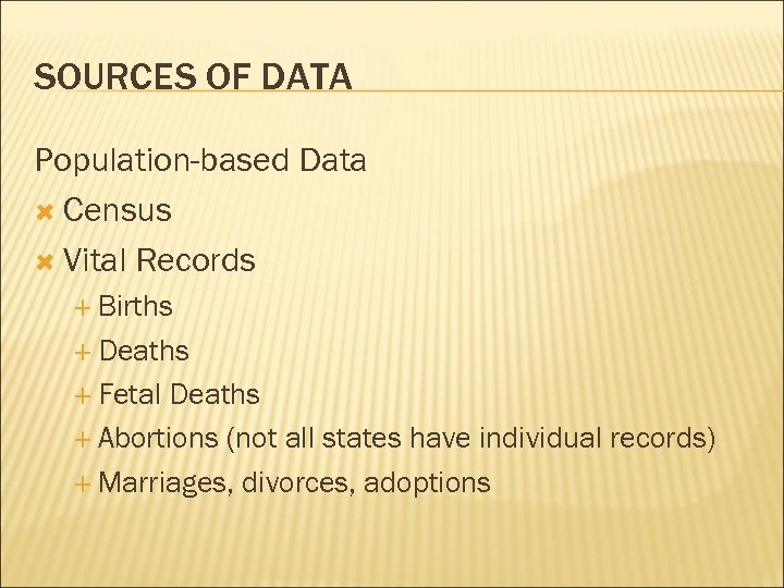 SOURCES OF DATA Population-based Data Census Vital Records Births Deaths Fetal Deaths Abortions (not