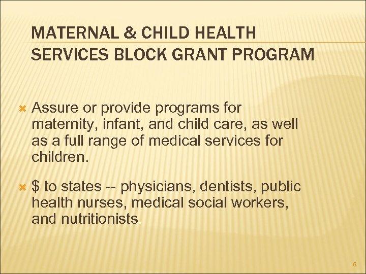 MATERNAL & CHILD HEALTH SERVICES BLOCK GRANT PROGRAM Assure or provide programs for maternity,
