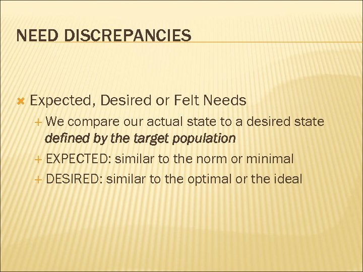 NEED DISCREPANCIES Expected, We Desired or Felt Needs compare our actual state to a