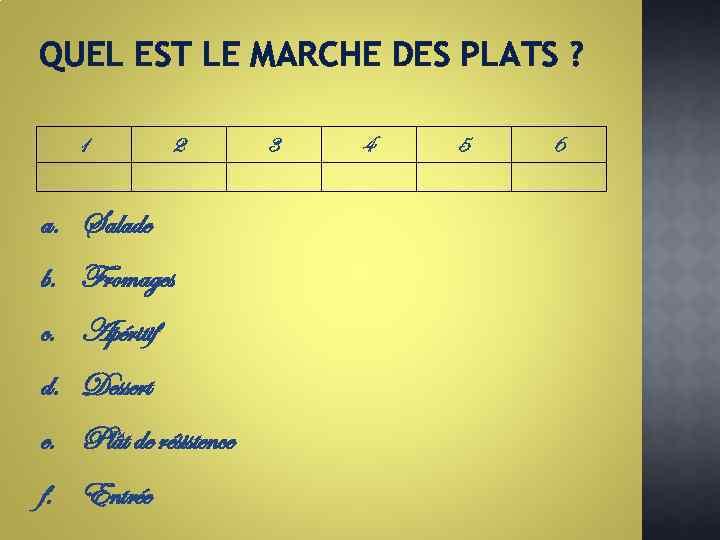 QUEL EST LE MARCHE DES PLATS ? 1 2 a. Salade b. Fromages c.
