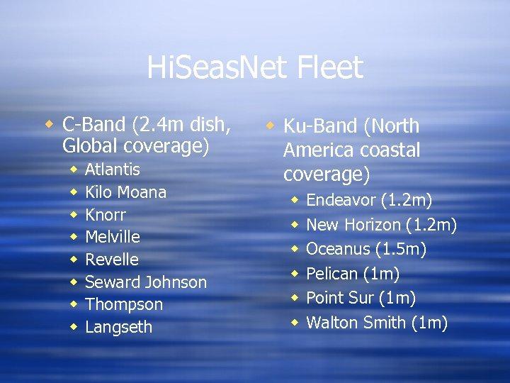 Hi. Seas. Net Fleet w C-Band (2. 4 m dish, Global coverage) w w