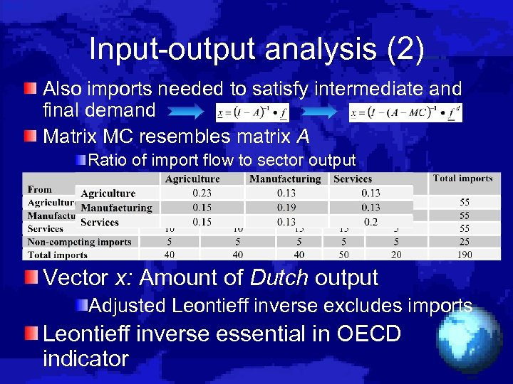 Input-output analysis (2) Also imports needed to satisfy intermediate and final demand Matrix MC