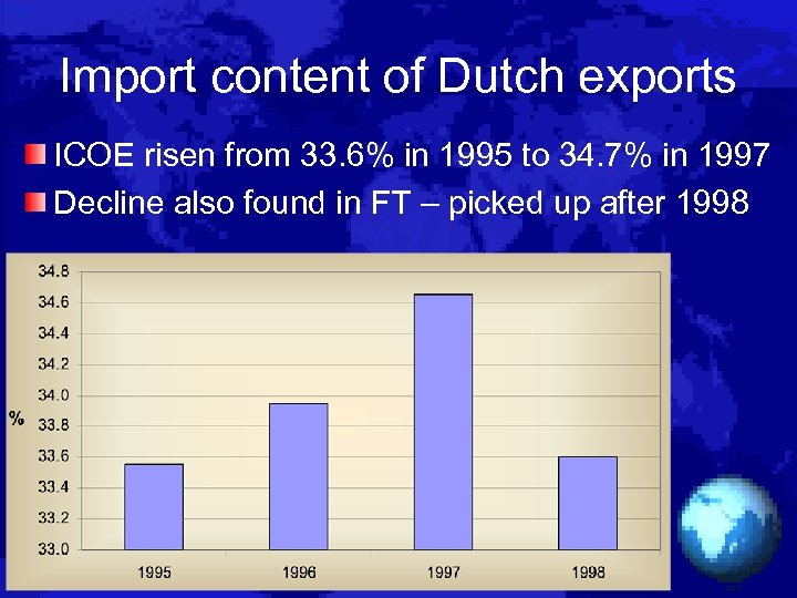 Import content of Dutch exports ICOE risen from 33. 6% in 1995 to 34.